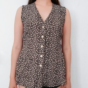 Express black with beige colored flowers button up